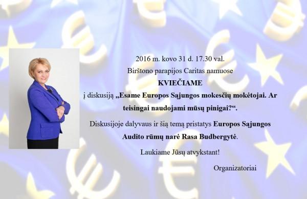 Kviečiame į diskusiją su Europos Sąjungos Audito rūmų nare Rasa Budbergyte