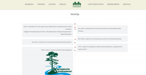 """Kapčiamiesčio bendruomenės tinklapio skiltis """"Istorija"""""""