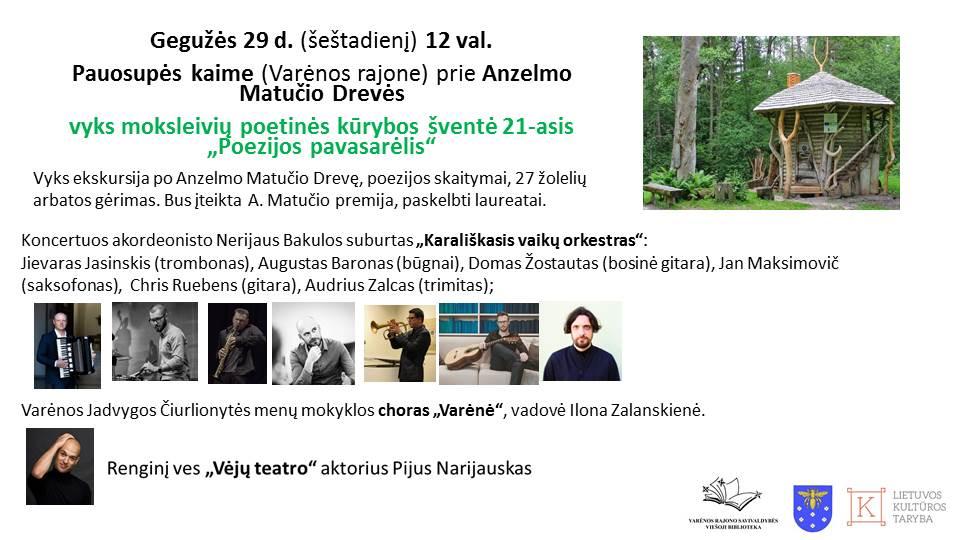"""moksleivių poetinės kūrybos šventė21-asis """"Poezijos pavasarėlis"""""""